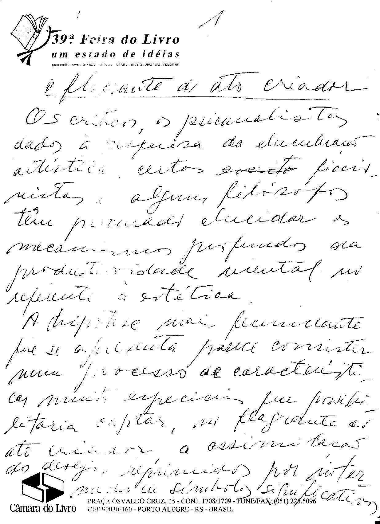 Manuscrito de O Flagrante do ato criador